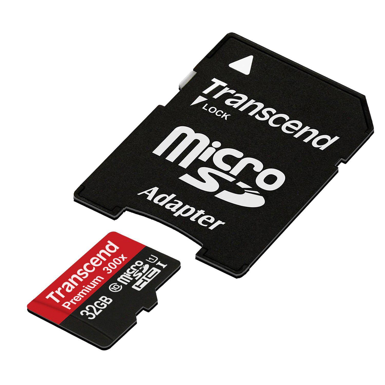 Carte mémoire microSDHC Transcend 32 Go Classe 10 UHS-I 300x avec adaptateur