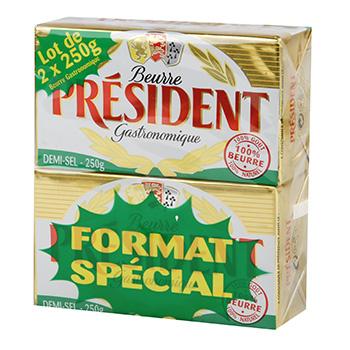 2 Plaquettes de Beurre gastronomique Président Demi Sel - 2x250g