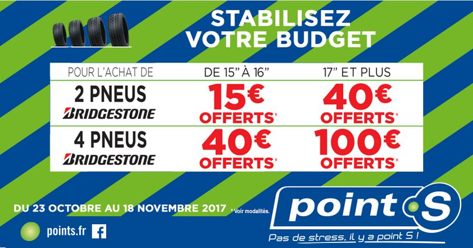 Jusqu'à 100€ offerts en bons d'achats (Carte Kadeos Universelle) pour l'achat de 2 à 4 pneus Bridgestone chez Point S