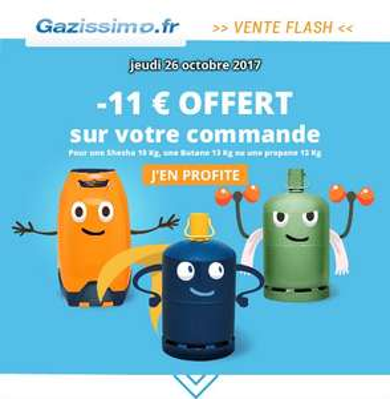 11€ de réduction sur votre bouteille de gaz (parmi une sélection) + consigne à 1€