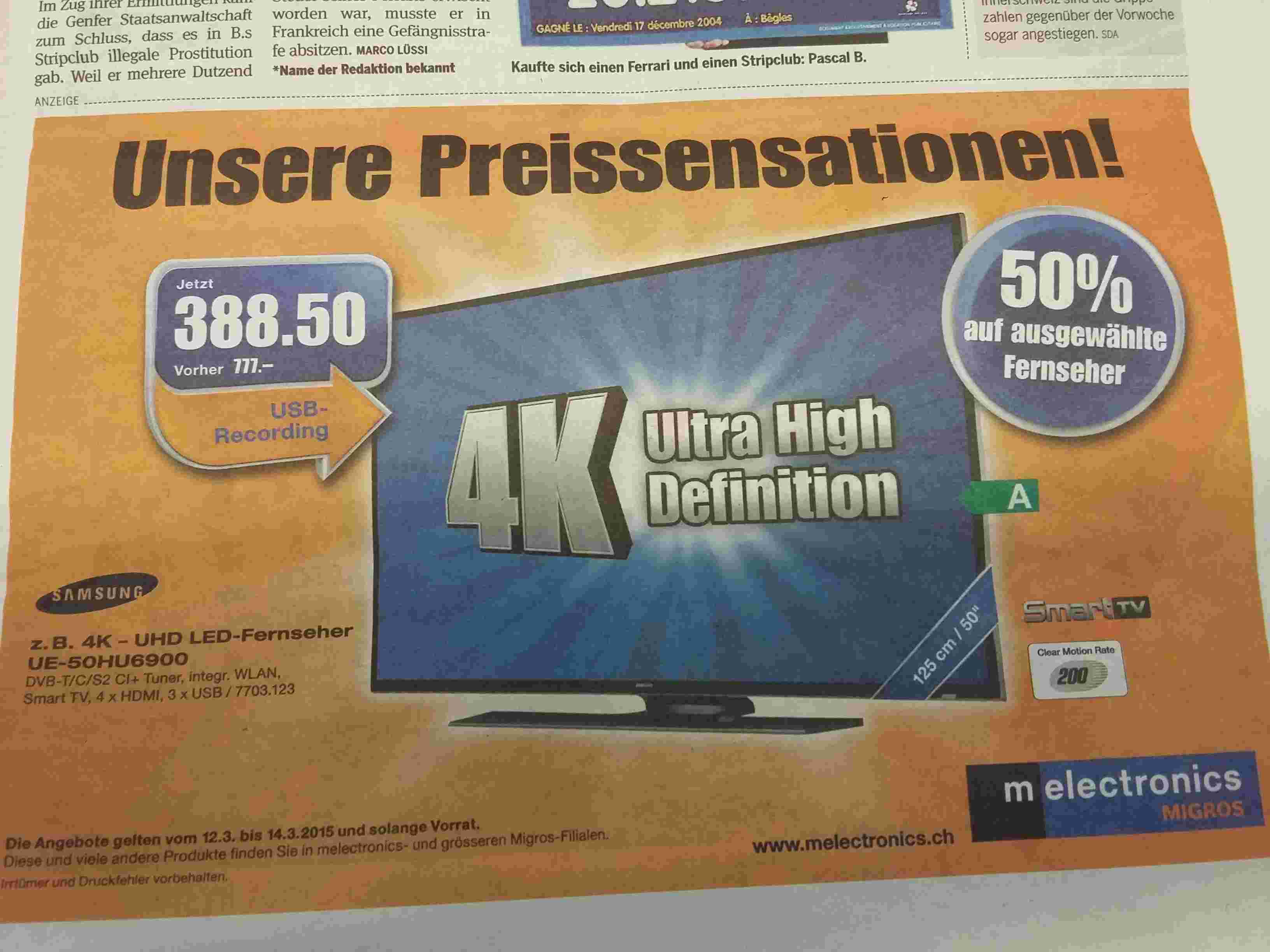 """TV 50"""" Samsung UE50HU6900 - 4 K en magasin"""