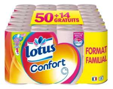 Paquet de 64 rouleaux de papier hygiénique Lotus Confort (Hyper Intermarché)