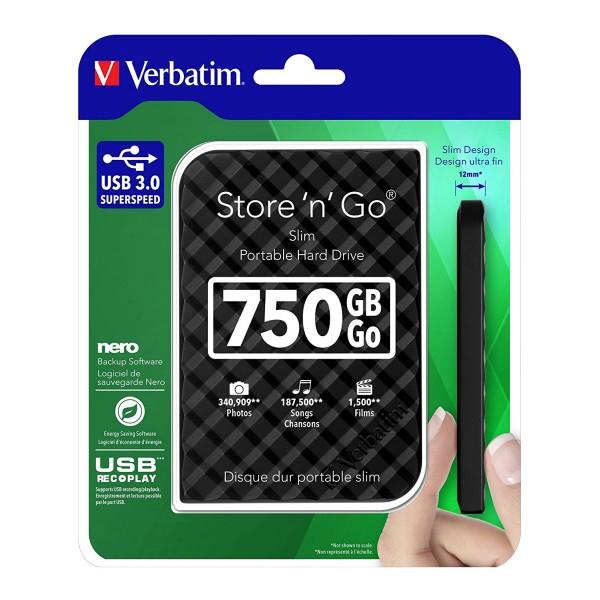 """Disque dur externe 2.5"""" Verbatim Store 'n' Go USB3.0 - 750 Go"""
