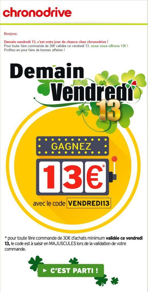 13€ de réduction pour toute 1ère commande de 30€ minimum