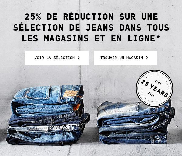 25% de réduction sur une sélection de jeans,