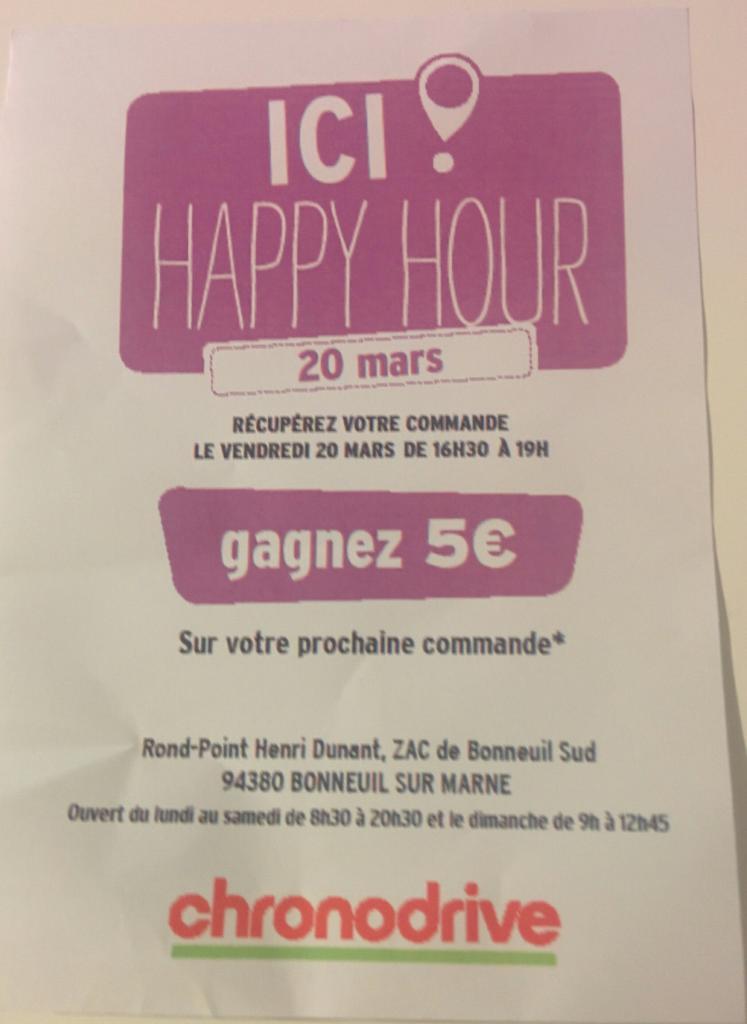 5€ offert sur la commande suivante pour toute commande retirée le 20/03 de 16h30 à 19h