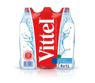 2 Packs d'eau minérale naturelle VITTEL (6 x 1L)