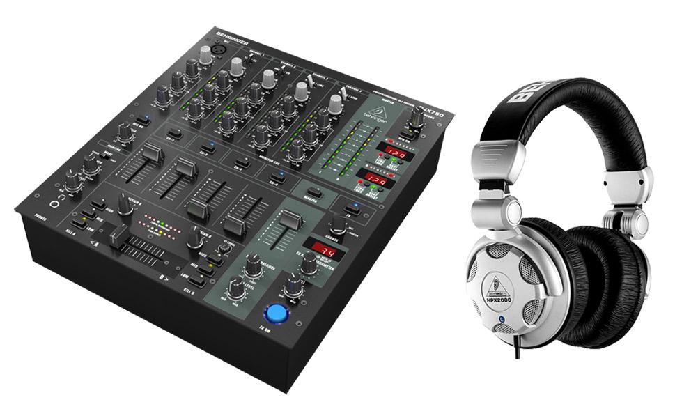 Pack table de mixage Behringer DJX 750 (5 voies) + casque audio Behringer HPX2000