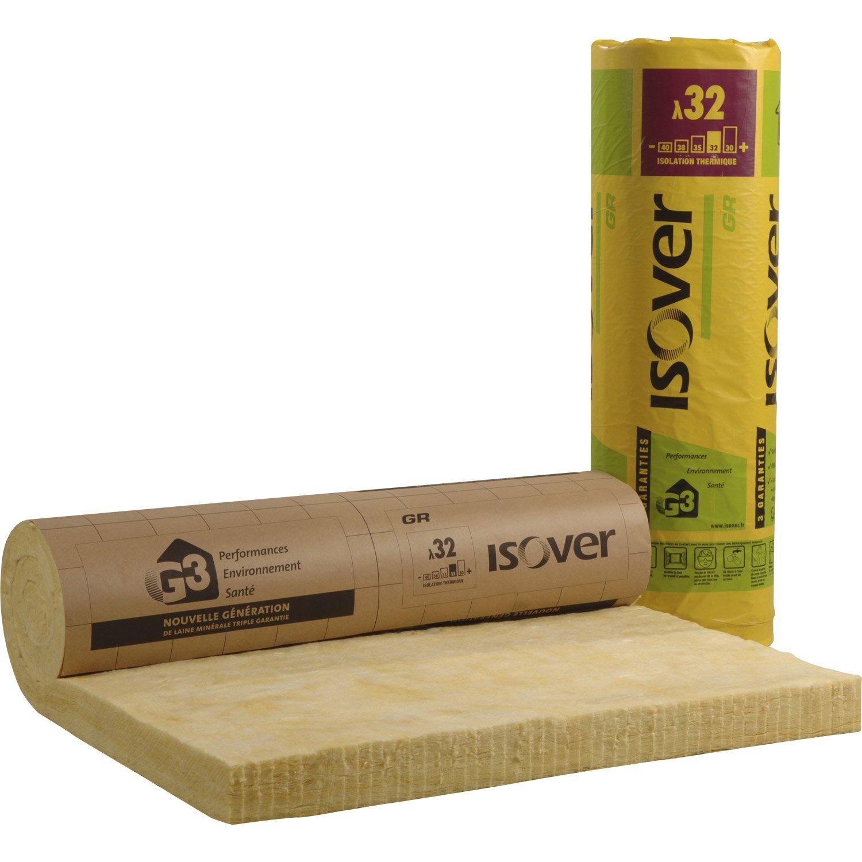 Rouleaux de laine de verre GR 32 Kraft ISOVER - 2.7x1.2m, Ep.100mm, r=3.15