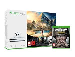 Pack console Microsoft Xbox One S (1 To) + Assassin's Creed Origins + Call of Duty: WWII + Tom Clancy's Rainbow Six: Siege