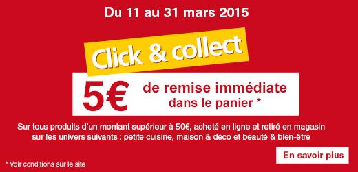 5€ de remise dès 50€ d' achat sur les rayons Petite Cuisine, Maison/Déco et Beauté/Bien-être