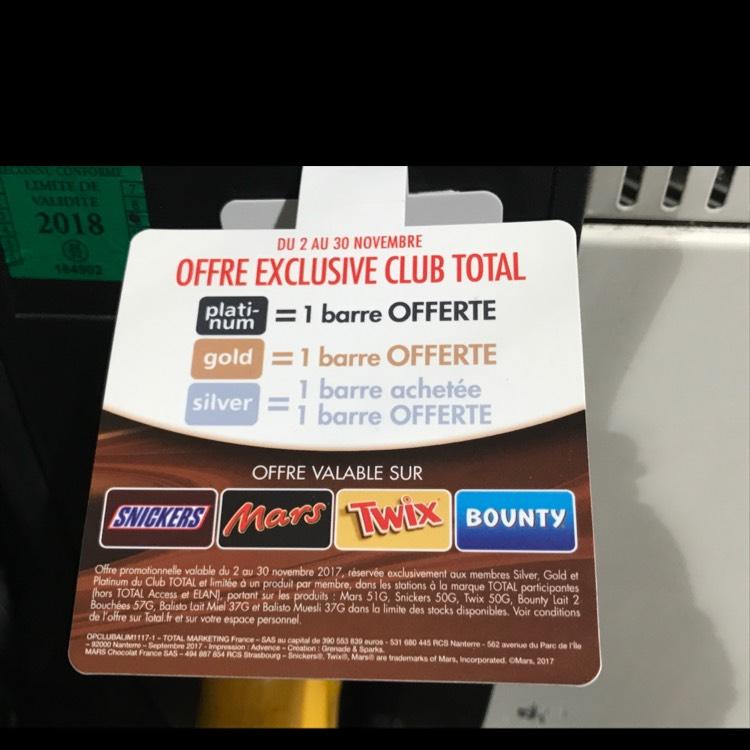 [Membre Total Platinum] 1 Barre Chocolatée Offerte