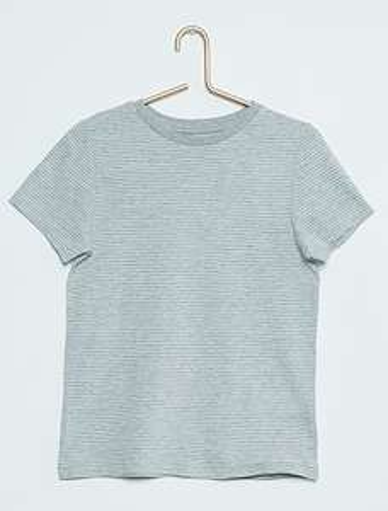 Tee-shirt pour enfant imprimé rayé - gris (du 2 au 12 ans, Frais de port inclus)