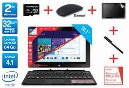 "PC Portable Hybride 10.1"" Thomson THBK1-10.32 Dual Boot (Avec souris, stylet, carte SD 64Go et Office 365)"