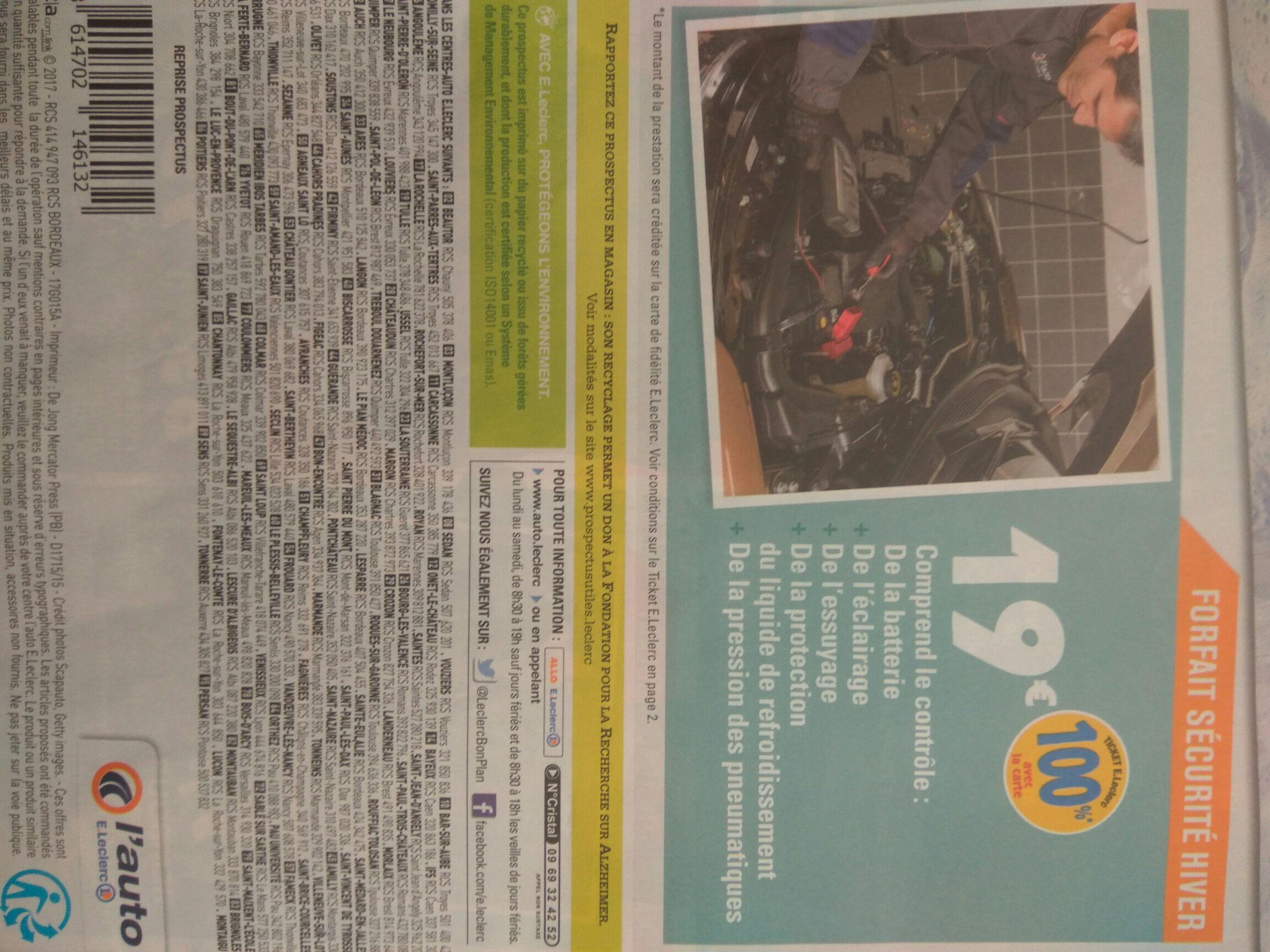 Contrôle sécurité auto gratuit (via 19€ sur la carte de fidélité)