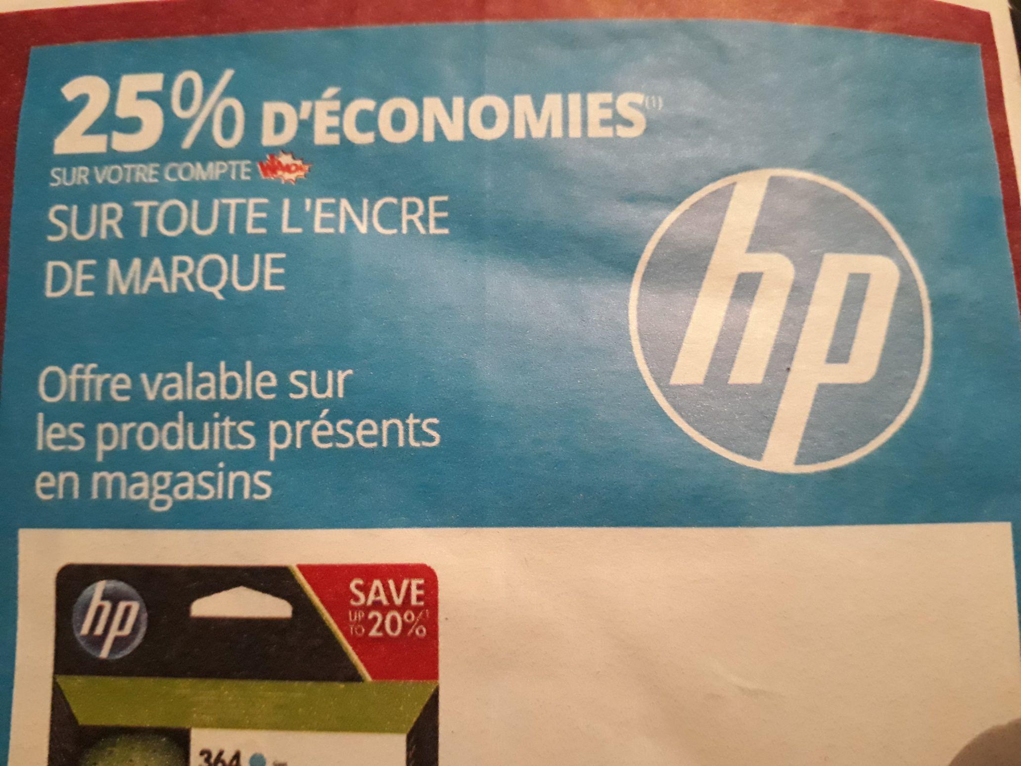 25% crédités sur la carte Wahoo Auchan pour l'achat de cartouches d'encre ou d'une imprimante HP