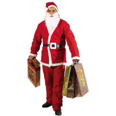 Déguisement Pere Noël : barbe, ceinture, bonnet, pantalon et veste
