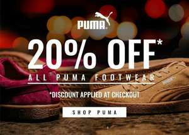 20% de réduction immédiate sur une sélection de Baskets Puma