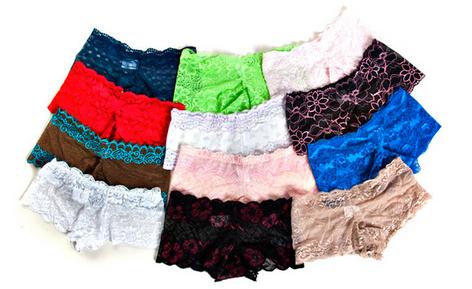 Lot de 12 boxers femme dentelle (taille et coloris) au choix
