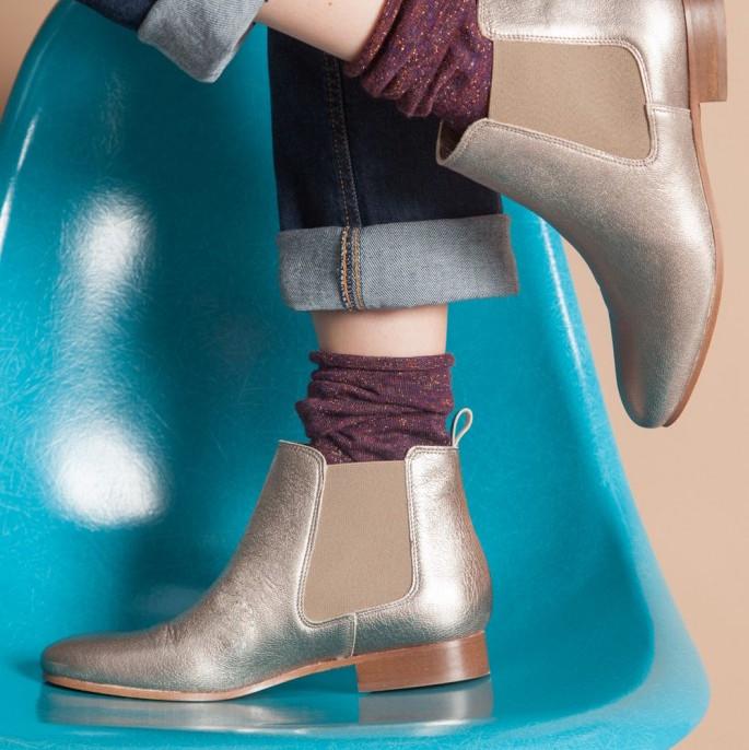 20% de réduction sur la collection Hiver à partir de 100€ d'achats - Ex : Chelsea Boots Champagne métallisé