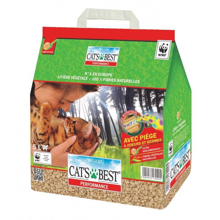 Litière végétale agglomérante Cat's best performence - 5L (via 2.45€ sur la carte)