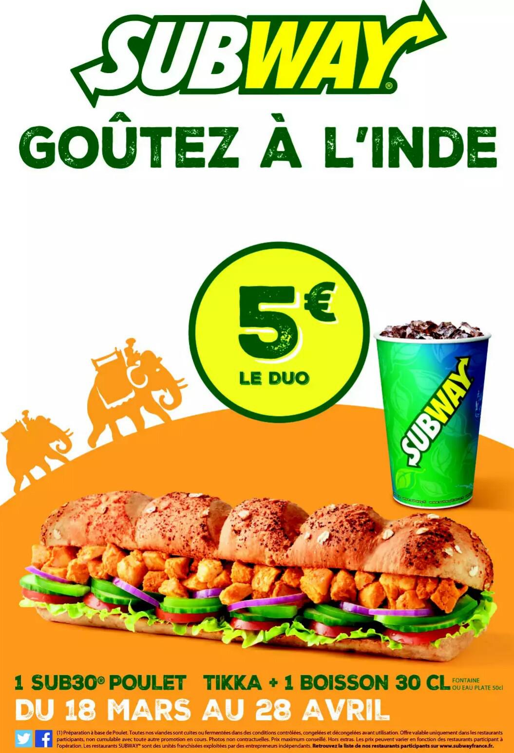 Sandwich Sub 30 poulet tikka + Boisson 30 cL