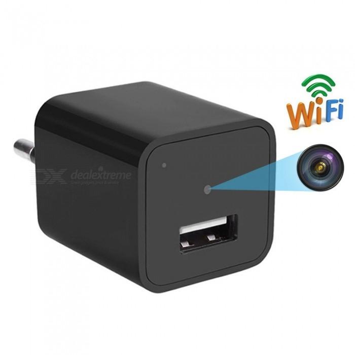 Chargeur mural Wi-Fi USB avec caméra - noir (fiche UE)