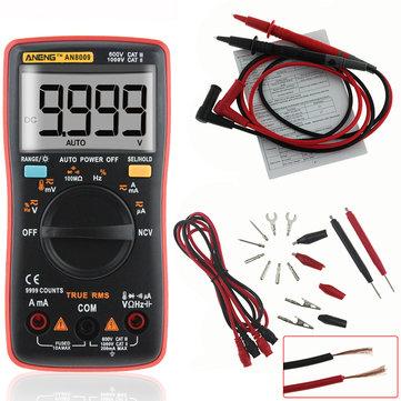 Multimètre numérique Aneng AN8009 TRMS avec câbles, sonde température, housse