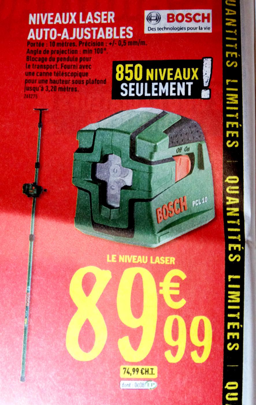 Niveau Laser Bosch PCL 10 + Tige télescopique Bosch 3,2 m