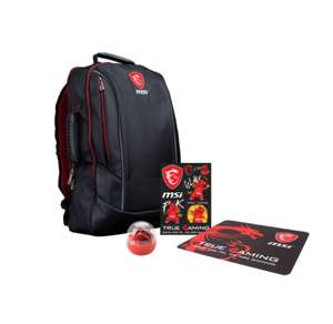 "Pack MSI Y17 Dragon Fever Summer GE: Sac à dos pour PC portable 17.3"" + Autocollants Gaming + Figurine à suspendre  + Tapis de souris"