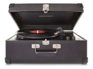 Platine Vinyle Portable Style Mallette Crosley Keepsake Deluxe avec 3 Vitesses Port USB et Haut-Parleurs Stéréo (Prise UK) - Noir