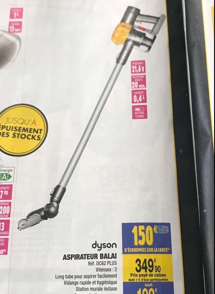 Aspirateur balai Dyson DC62+ Plus (via 150€ sur la carte, Carrefour market)