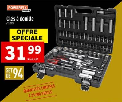 Sélection de produits en Promotions - Ex: Coffret à Douilles Powerfix (94 Pièces)