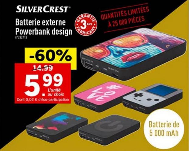 Batterie externe SilverCrest - 5000 mAh (Garantie 3 ans)