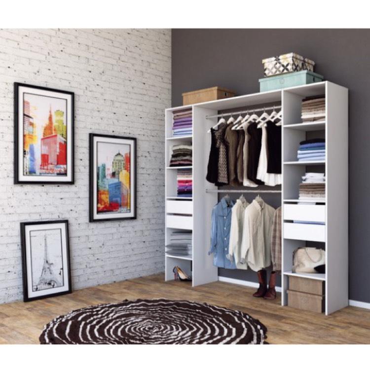 Meuble dressing - 186 x 80 à 180 x 40.4 cm, blanc