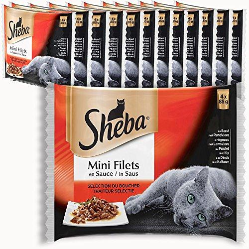 13 packs de 4 sachets fraîcheur Sheba pour Chat - Mini Filets en Sauce Multi Variétés