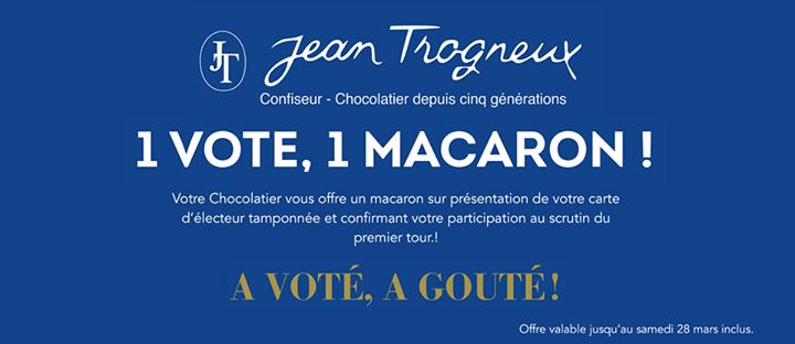 un macaron offert sur présentation de votre carte d'électeur