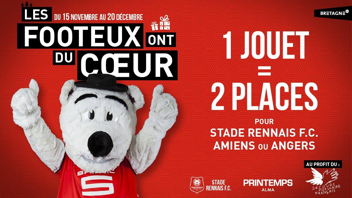 1 Jouet neuf ou en bon état remis = 2 places de match de football Stade Rennais F.C. / Amiens ou Angers offertes