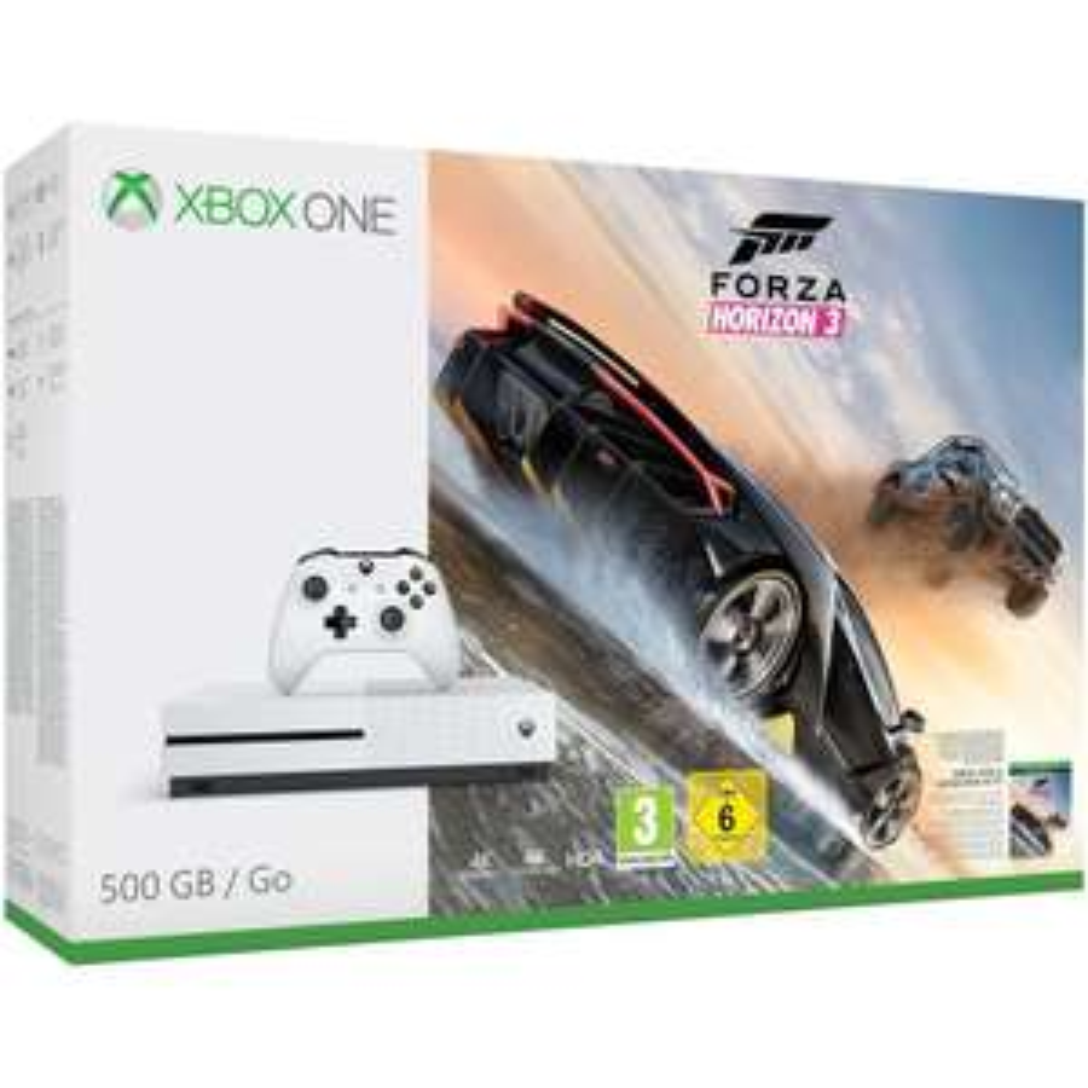 Pack Console Xbox One S (Blanc) - 500 Go + Forza Horizon 3 + DLC Hot Wheels