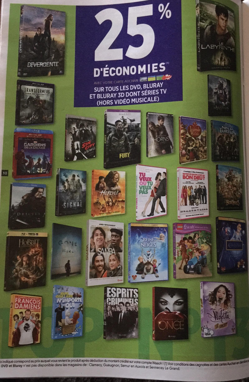 25% crédités sur la carte fidélité sur les DVD, Blu-ray, Blu-ray 3D dont Séries TV