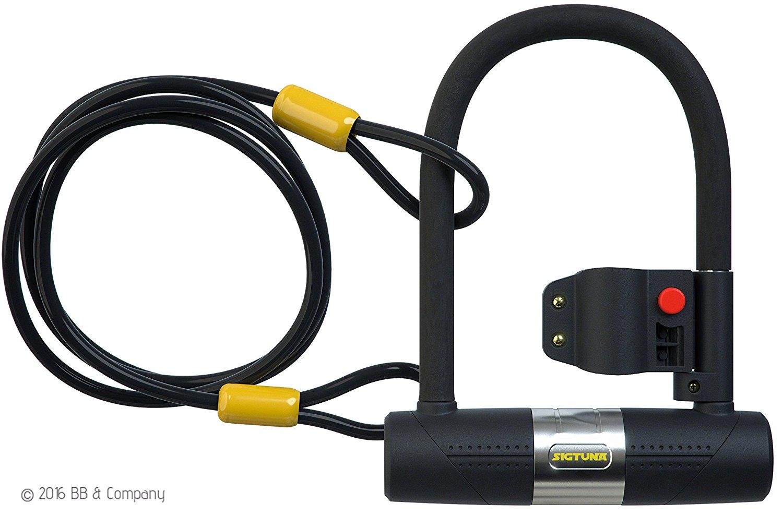 Antivol vélo en U Sigtuna - 16mm, Support de Montage Solide + Câble Flex en Acier Tressé de 1200mm (vendeur tiers)