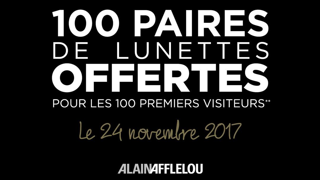 1 paire de lunettes Alain Afflelou offertes aux 100 premiers visiteurs - Centre Commercial Lyon Part-Dieu (69) et Aix La Pioline (13)