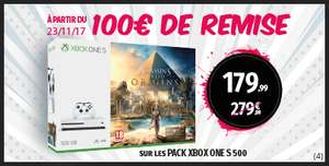 Sélection de packs Xbox One S 500 Go + Jeu (Assassin's Creed Origins, Forza Horizon 3...)