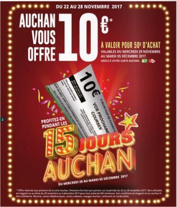 [Carte Auchan] Bon d'achat de 10€ offert (à valoir pour 50€ d'achat)