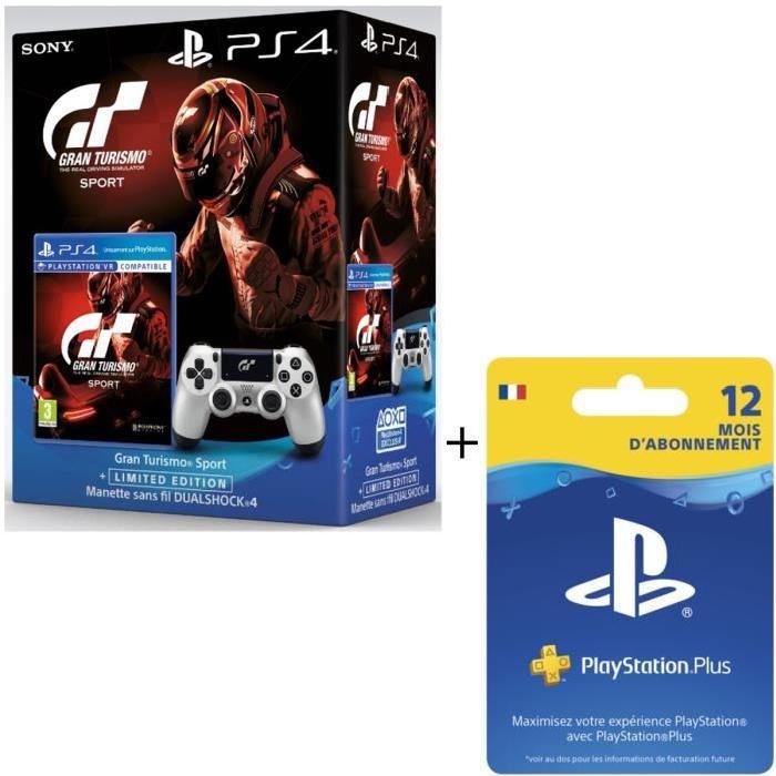 Gran Turismo Sport PS4 + Manette GT Sport + Abonnement PlayStation Plus 12 mois