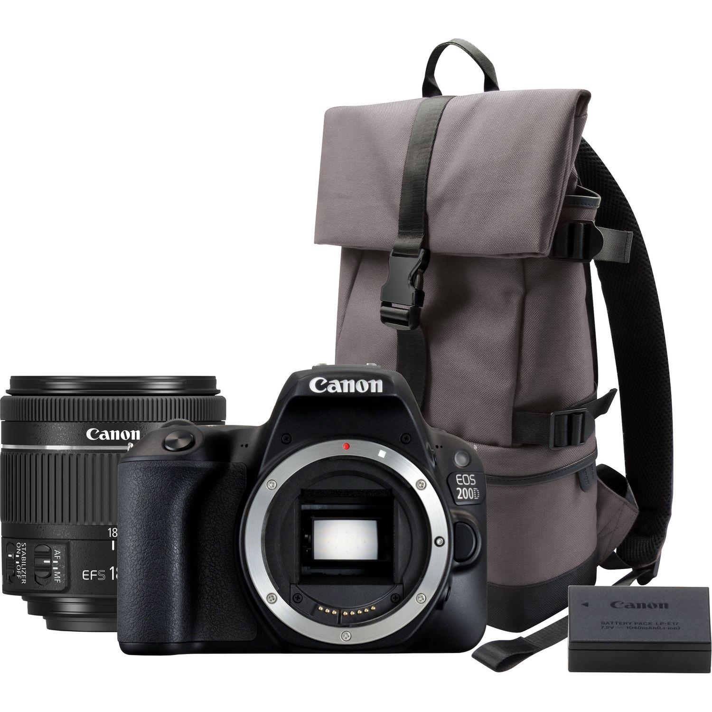 Appareil photo reflex Canon EOS 200D Noir + Objectif 18-55mm f/4-5.6 IS STM Noir + Sac BP13 + Batterie LP-E17 (via ODR de 50€)