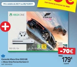 Sélection de produits en promotion - Ex : pack console Xbox One (500 Go) + Forza Horizon 3 - via 20€ de bon d'achat (Frontaliers Belgique)