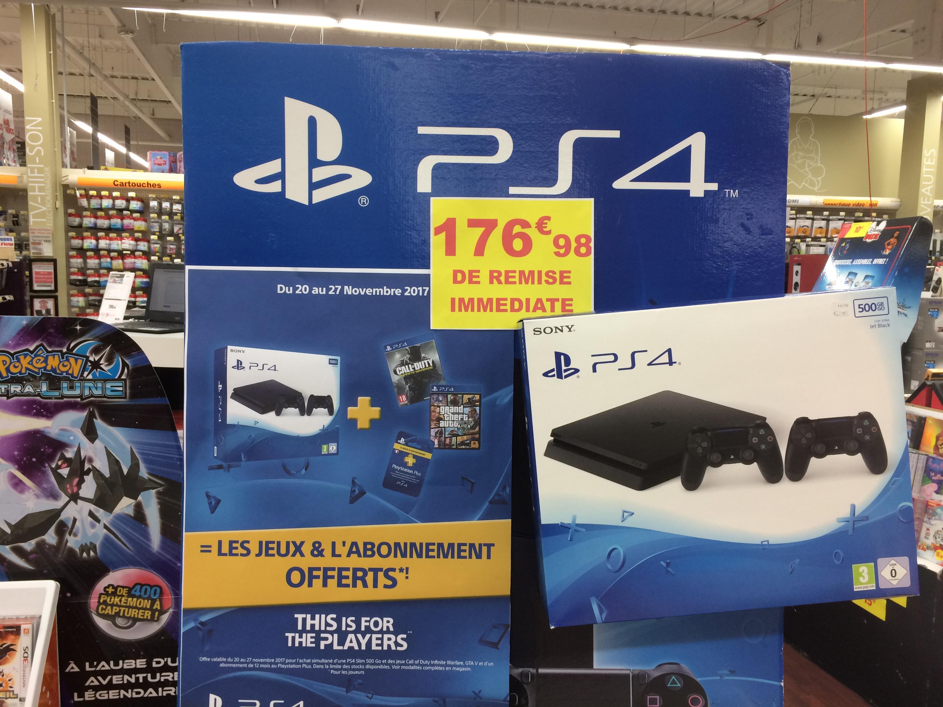 Console Sony PS4 500 Go + 2ème manette + Call of Duty: Infinite Warfare + GTA V + Abonnement 12 mois PS Plus (Mellac Quimperlé - 29)