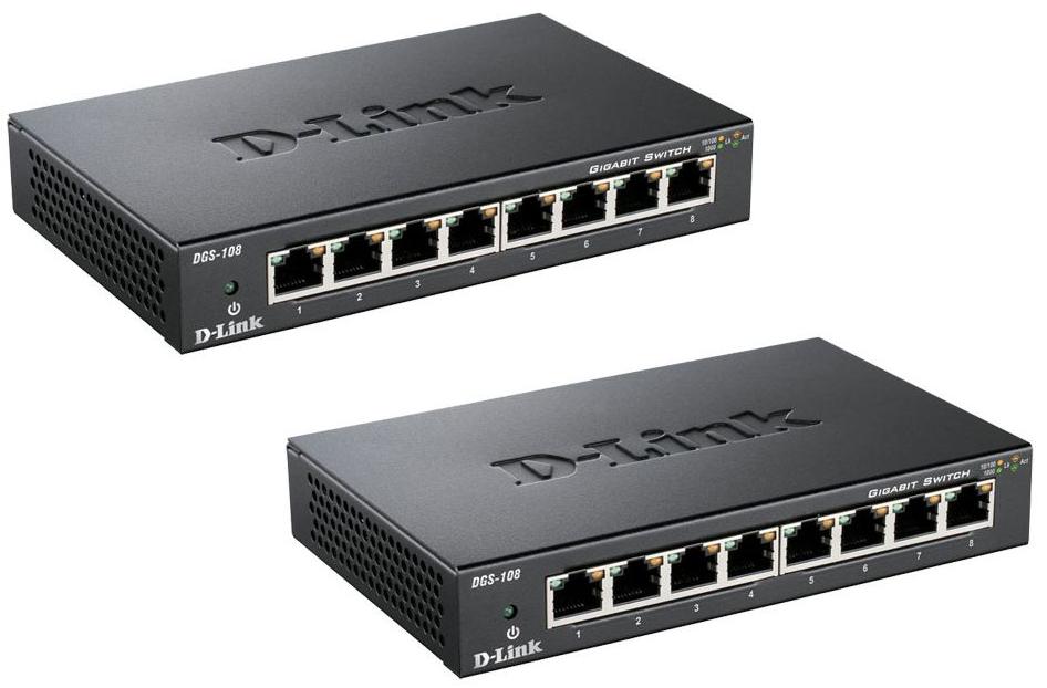 Pack de 2 switchs D-Link DGS-108 - 8 ports