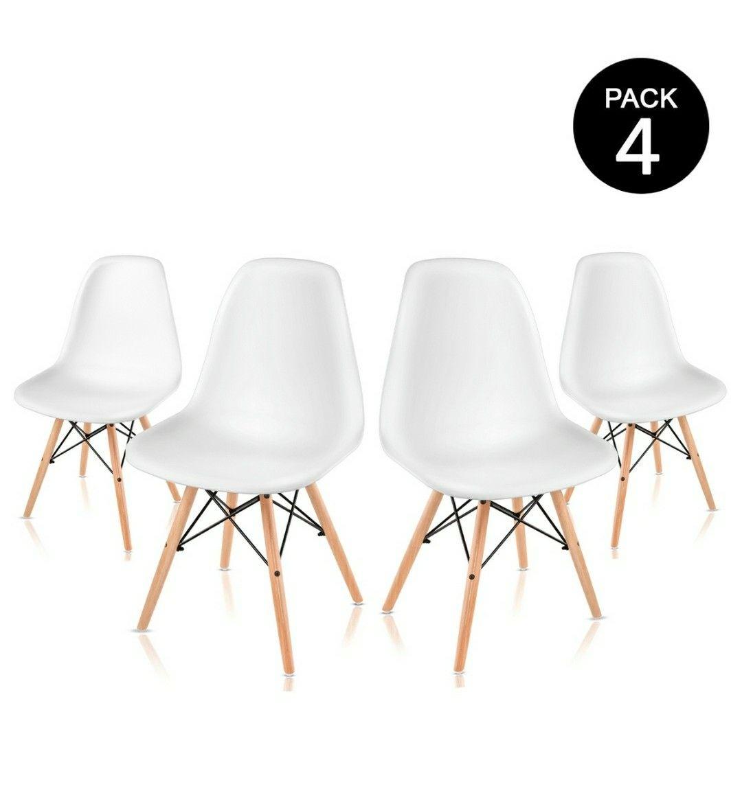 Ensemble de 4 Chaises retro en Blanc de Nordic Design – McHaus